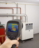 Gas Furnace Thermal Image. Service Check of Gas Furnace with Thermal Camera Stock Photos