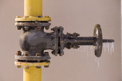 The gas gate in icicles Stock Photos