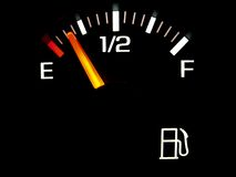 Gas gauge. Gasoline fuel gauge on empty Royalty Free Stock Photo