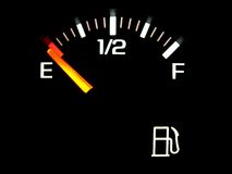 Gas gauge. Gasoline fuel gauge on empty Royalty Free Stock Photos