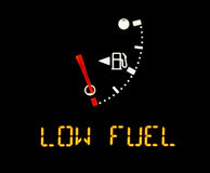 Gas gauge. Low fuel empty gas gauge Royalty Free Stock Images