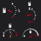 Gas gauge. Gas tank, gas gages, fuel gauge Stock Image