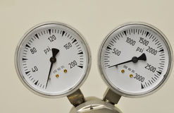 Gas gauge. S indicating pressures at zero Royalty Free Stock Images