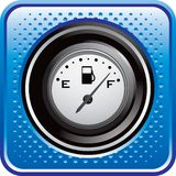 Gas gauge on blue halftone web button Stock Photography