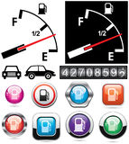 Gas gauge and icons of petrol station Royalty Free Stock Images