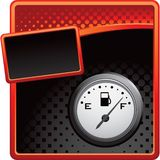 Gas gauge on red and black halftone banner Stock Photos