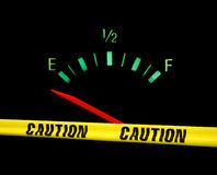 Gas gauge warning. Gas gauge bright colors on empty on a black background with yellow caution tape across the front of it Stock Photography