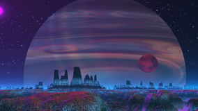 Gas Giant on the Background of the Alien Landscape stock video