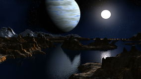 The gas giant and the moon against a fantastic landscape stock video