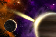 Gas giant planet and comet. Planets in deep space with a flying comet. Apocalypse Royalty Free Stock Photos