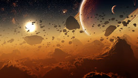 Gas Giant Planet Surface With Asteroid Belt. Surface of a gas giant planet which covered by a thick layer of gas clouds shaped under a huge gravitation and Royalty Free Stock Photography