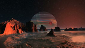 Gas Giant and Satellite stock footage