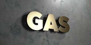Gas - guld- tecken som monteras på den glansiga marmorväggen - 3D framförde den fria materielillustrationen för royalty Fotografering för Bildbyråer