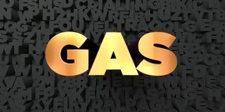 Gas - guld- text på svart bakgrund - 3D framförd fri materielbild för royalty Vektor Illustrationer