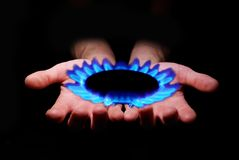 Gas in hands Stock Image