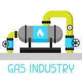 Gas heat exchanger in refinery. Industrial illustration in flat style.  Stock Photos