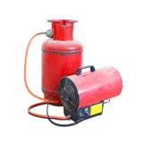 Gas heat gun. Equipment for suspended ceilings. Red tank of prop Stock Photo