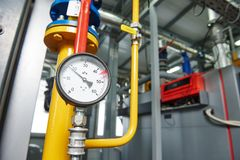 Gas heating system boiler room equipments Royalty Free Stock Images