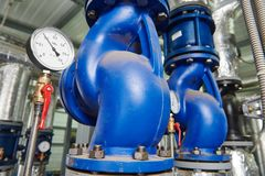 Gas heating system boiler room equipments Royalty Free Stock Photography