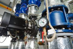 Gas heating system boiler room equipments Stock Photography