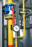 Gas heating system boiler room equipments Royalty Free Stock Photos