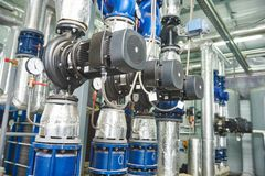 Gas heating system boiler room equipments Stock Images