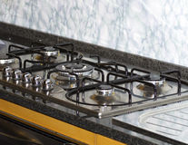 Gas hob. Modern gas hob in a house stock image