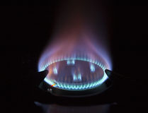 Gas hob against black background Stock Images