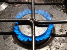 Gas hob. Gas burner on full Stock Photos
