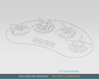 Gas Hob Line Drawing Concept 02 Royalty Free Stock Image