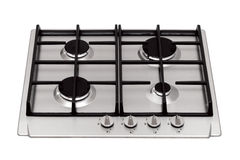 Gas hob. Stainless steel gas hob isolated on white royalty free stock photo