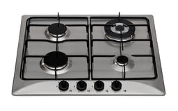 Gas hob. Stainless steel gas hob isolated on white royalty free stock images