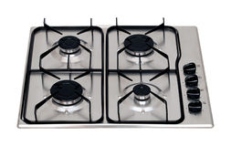 Gas hob. Stainless steel gas hob isolated on white royalty free stock image