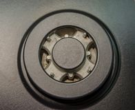 Stainless steel gas hob. The gas hob will be examined closer Stock Photography