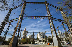 Gas holder in a public park in the Barcelona district Barceloneta. The Gasometer serves today as a playground and Basketball field Royalty Free Stock Images