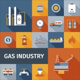Gas Icon Flat. Gas industry renewable eco fuel icon flat set  vector illustration Royalty Free Stock Images