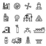Gas industry extraction production and transportation gas icons set with tanker truck petroleum can and pump. thin line design. Linear symbols collection Royalty Free Stock Photos