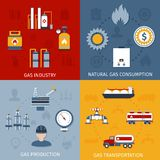 Gas industry flat icons composition. Natural raw gas industry production transportation and consumption 4 flat icons composition design abstract isolated vector Stock Images