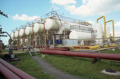 Gas industry.  gas-transfering. Gas industry,  gas-transfering, gas-extraction. System gas-transport Stock Photo