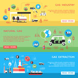 Gas Industry Horizontal Banners Set Stock Images