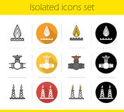 Gas industry icons set Stock Photos