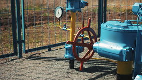The gas industry. Pipeline with a manometer and a shut-off valve. Transportation and storage of gas and oil products. stock video footage