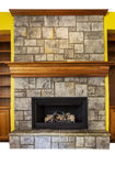 Gas Insert Fireplace with accent walls and shelves Stock Photography
