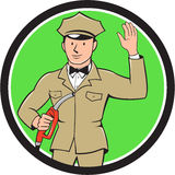 Gas Jockey Attendant Waving Circle Cartoon Royalty Free Stock Images
