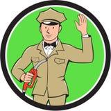 Gas Jockey Attendant Waving Circle Cartoon Royalty Free Stock Images