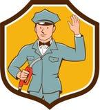 Gas Jockey Attendant Waving Shield Cartoon Royalty Free Stock Image