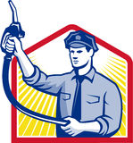 Gas Jockey Gasoline Attendant Fuel Pump Nozzle. Illustration of fuel jockey gasoline attendant worker with fuel pump nozzle done in retro style Royalty Free Stock Images