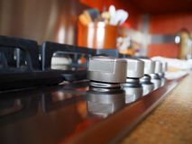 Kitchen, gas stove, knob stock photography