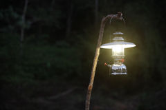 Gas lamp in night forest Stock Photo