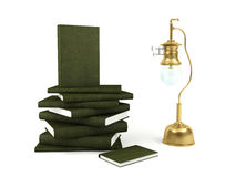 Gas lamp and a pile of books Royalty Free Stock Photo